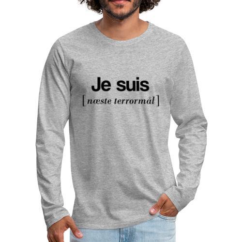Je suis (sort skrift) - Herre premium T-shirt med lange ærmer