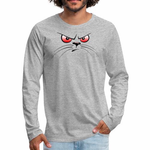 GATTO ARRABBIATO OCCHI ROSSI - ANGRY CAT RED EYES - Maglietta Premium a manica lunga da uomo