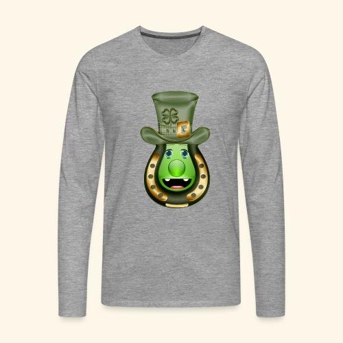 Mr St Patricks Day clover horse shoe hat shamrock - Men's Premium Longsleeve Shirt