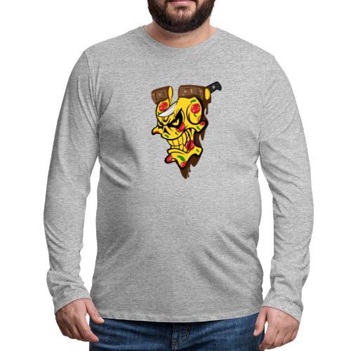 Pizza Schädel mit Messer - Männer Premium Langarmshirt