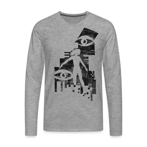 Network Glitch - Mannen Premium shirt met lange mouwen