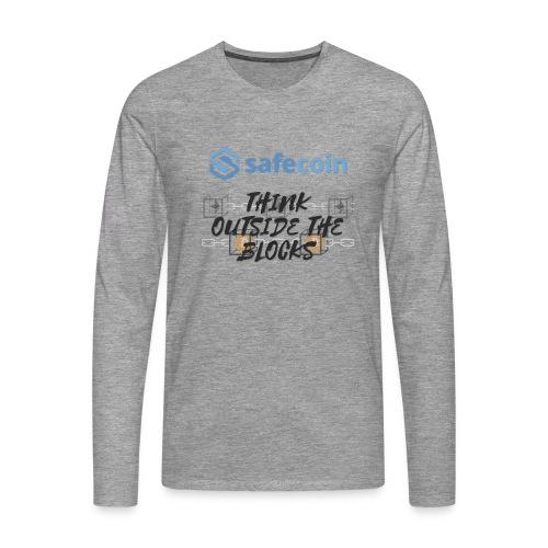SafeCoin; Think Outside the Blocks (black + blue) - Men's Premium Longsleeve Shirt