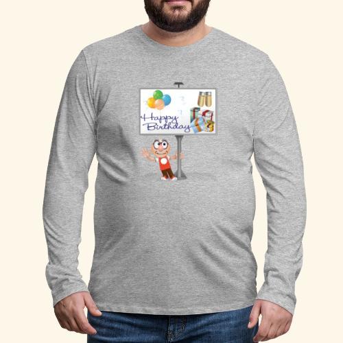 Happy Birthday Signpost with balloons - Men's Premium Longsleeve Shirt
