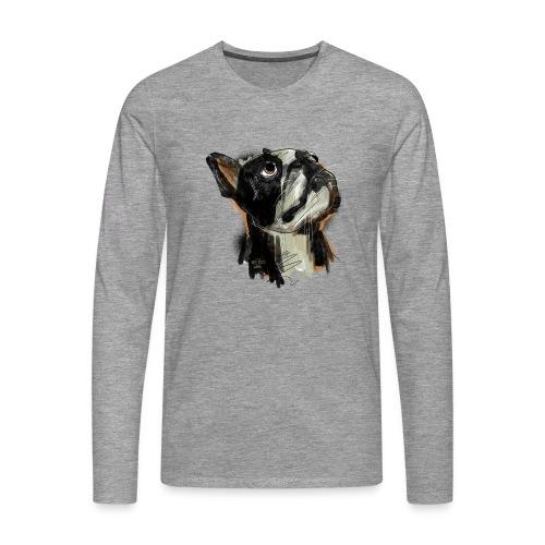 Französische Bulldogge Zeichnung - Männer Premium Langarmshirt