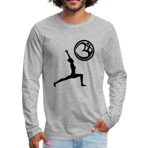 Der Held Yoga Asana Warrior mit OM Symbol Cool - Männer Premium Langarmshirt