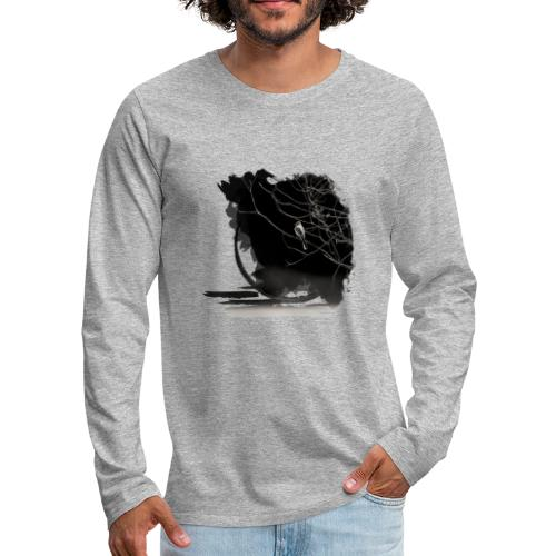 bird in zen circle above water bird on branch Zen - Men's Premium Longsleeve Shirt