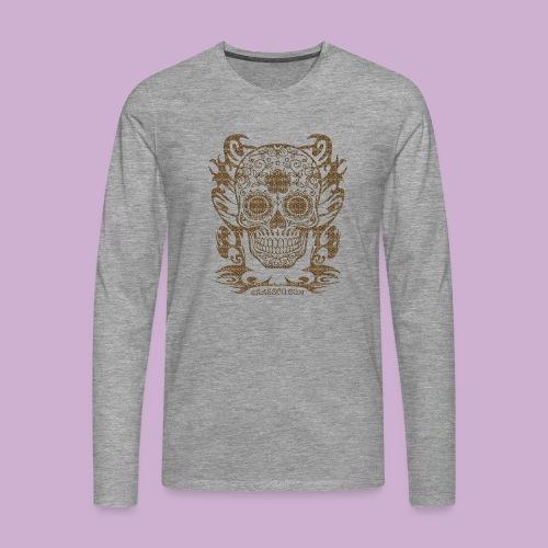 SKULL FLOWERS LEO - Männer Premium Langarmshirt