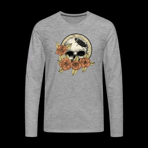 Rose et tête de mort - T-shirt manches longues Premium Homme