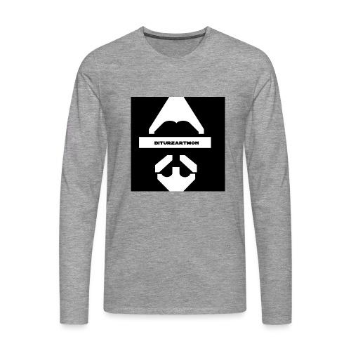 Biturzartmon Logo weiss/schwarz glatt - Männer Premium Langarmshirt