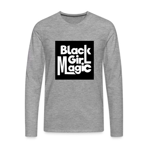 Black Girl Magic 2 White Text - Men's Premium Longsleeve Shirt
