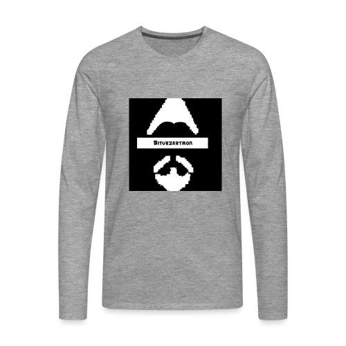 Biturzartmon Logo weiss/schwarz asiatisch - Männer Premium Langarmshirt