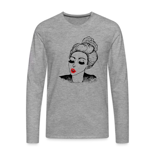 Vintage Retro Girl Kiss message - Men's Premium Longsleeve Shirt