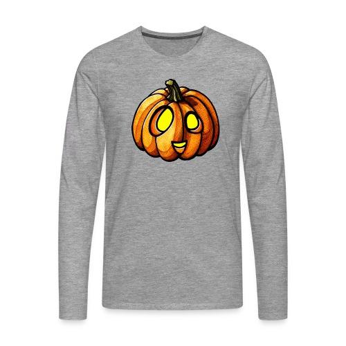 Pumpkin Halloween watercolor scribblesirii - Miesten premium pitkähihainen t-paita
