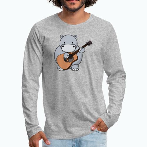 Henri Hippo Guitar - Appelsin - Långärmad premium-T-shirt herr
