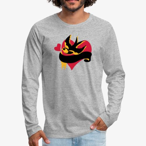 retro tattoo bird with heart - Men's Premium Longsleeve Shirt