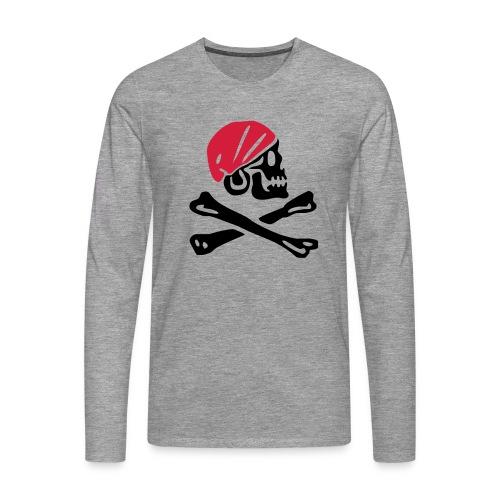 Piratentotenkopf mit rotem Kopftuch - Männer Premium Langarmshirt
