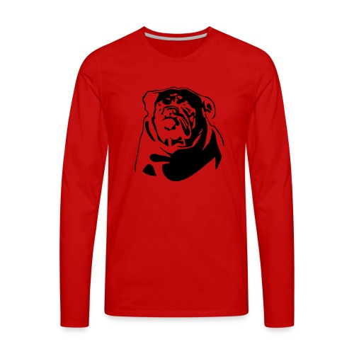 English Bulldog - negative - Miesten premium pitkähihainen t-paita