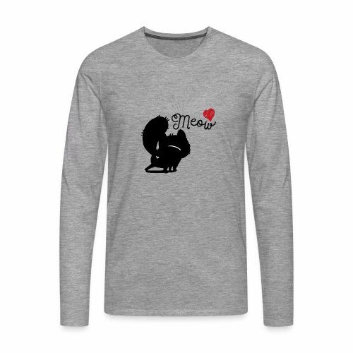 gatto meow - Maglietta Premium a manica lunga da uomo