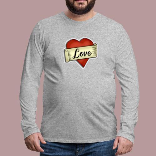 Love cœur tatouage - T-shirt manches longues Premium Homme