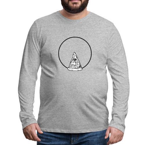 All sehendes Auge Pizza (schwarzer Druck) - Männer Premium Langarmshirt