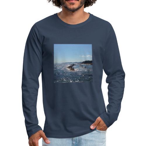 Mer avec roches - T-shirt manches longues Premium Homme