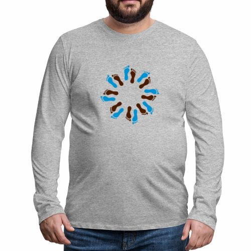 Barfuß-Kreis blau-braun - Männer Premium Langarmshirt