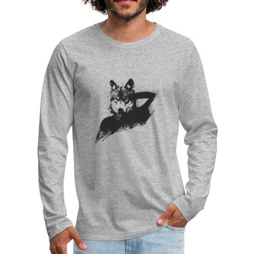 illustration zoom loup noir - T-shirt manches longues Premium Homme