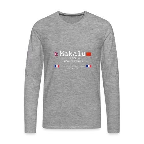 Makaluwhite - Maglietta Premium a manica lunga da uomo