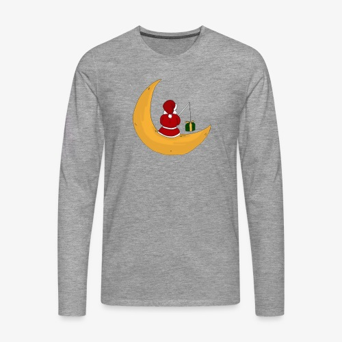 Santa sur un croissant de lune - T-shirt manches longues Premium Homme