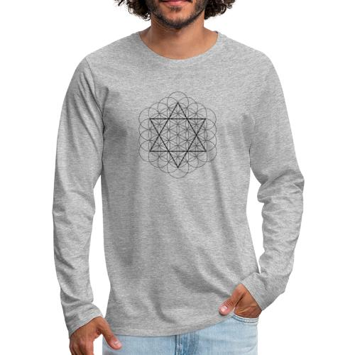 Flower of life and David Star - Herre premium T-shirt med lange ærmer