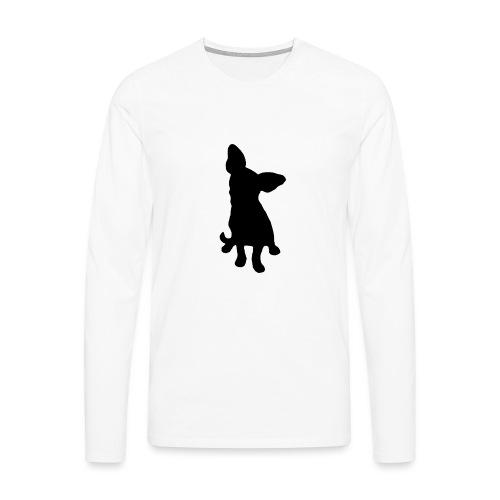 Chihuahua istuva musta - Miesten premium pitkähihainen t-paita