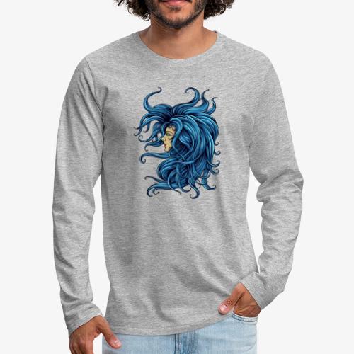 Dame im Blau - Männer Premium Langarmshirt