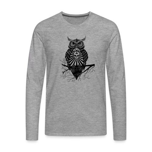 Hibou Psychédélique - T-shirt manches longues Premium Homme