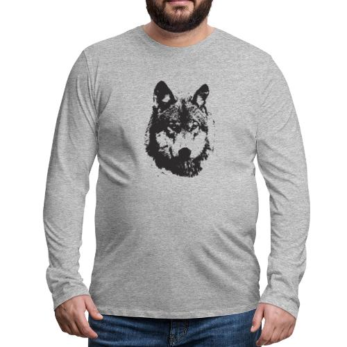 illustration te e te de loup noire - T-shirt manches longues Premium Homme