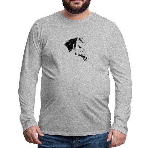 Pferd als schwarze Silhuette - Männer Premium Langarmshirt