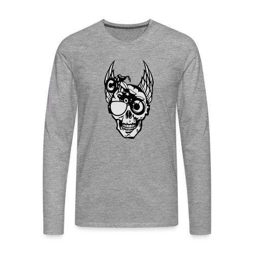 tete mort moto skull aile motard oeil - T-shirt manches longues Premium Homme