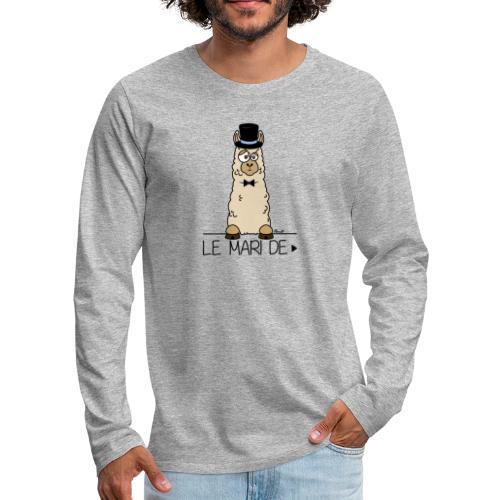LeMARI de LAMARIEE (1de2), Mariage, marié, Lama - T-shirt manches longues Premium Homme