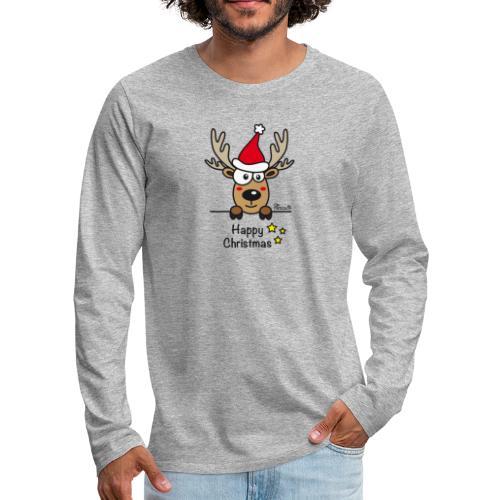 Renne Joyeux Noël - Happy Christmas, Humour, Drôle - T-shirt manches longues Premium Homme