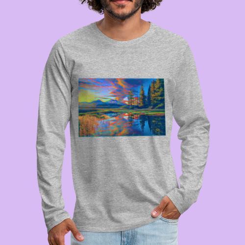 Paesaggio al tramonto con laghetto stilizzato - Maglietta Premium a manica lunga da uomo