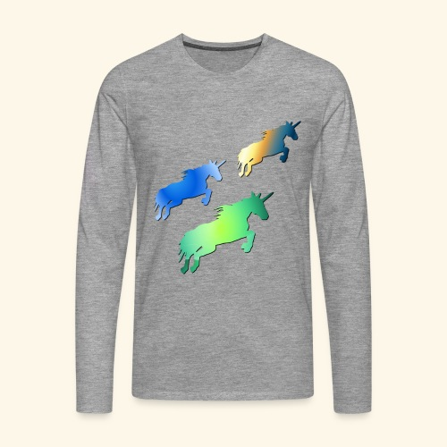 Three lucky mane fairy tale unicorns leaping - Men's Premium Longsleeve Shirt
