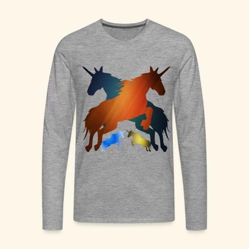 Unicorns 4 lucky mane fairy tale unicorns leaping - Men's Premium Longsleeve Shirt