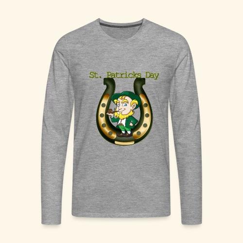 Irish St Patricks Day Lucky Horse Shoe leprechaun - Men's Premium Longsleeve Shirt