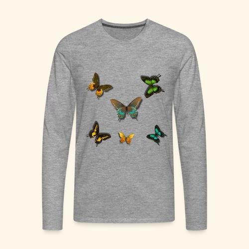 Rain Forest 3D Butterflies of beautiful colour - Men's Premium Longsleeve Shirt