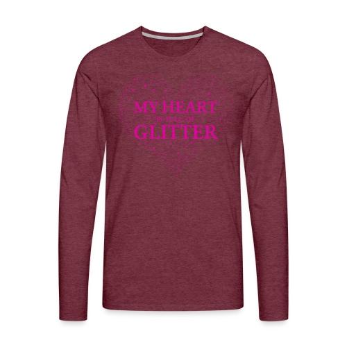 Herz Glitzer - Männer Premium Langarmshirt