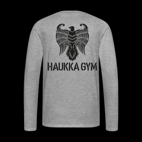 HAUKKA GYM LOGO - Miesten premium pitkähihainen t-paita