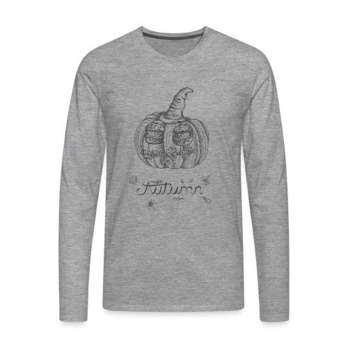 Autumn - herbstlicher Kürbiskopf - Männer Premium Langarmshirt