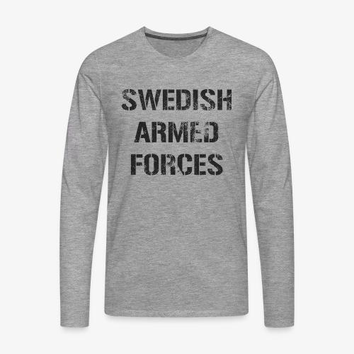 SWEDISH ARMED FORCES Rugged + SWE Flag - Långärmad premium-T-shirt herr