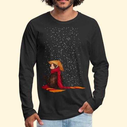 Un singe en hiver sous la neige - T-shirt manches longues Premium Homme