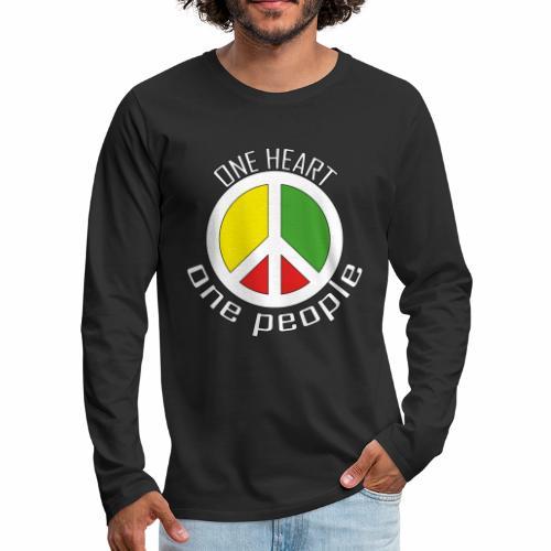 One Heart, One People - Peace - rot, gelb, grün - Männer Premium Langarmshirt