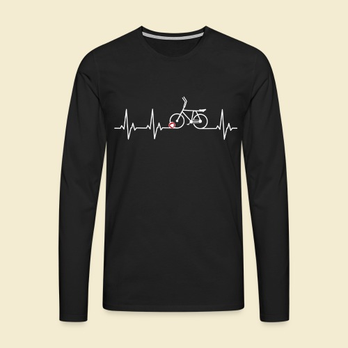 Radball | Heart Monitor White - Männer Premium Langarmshirt